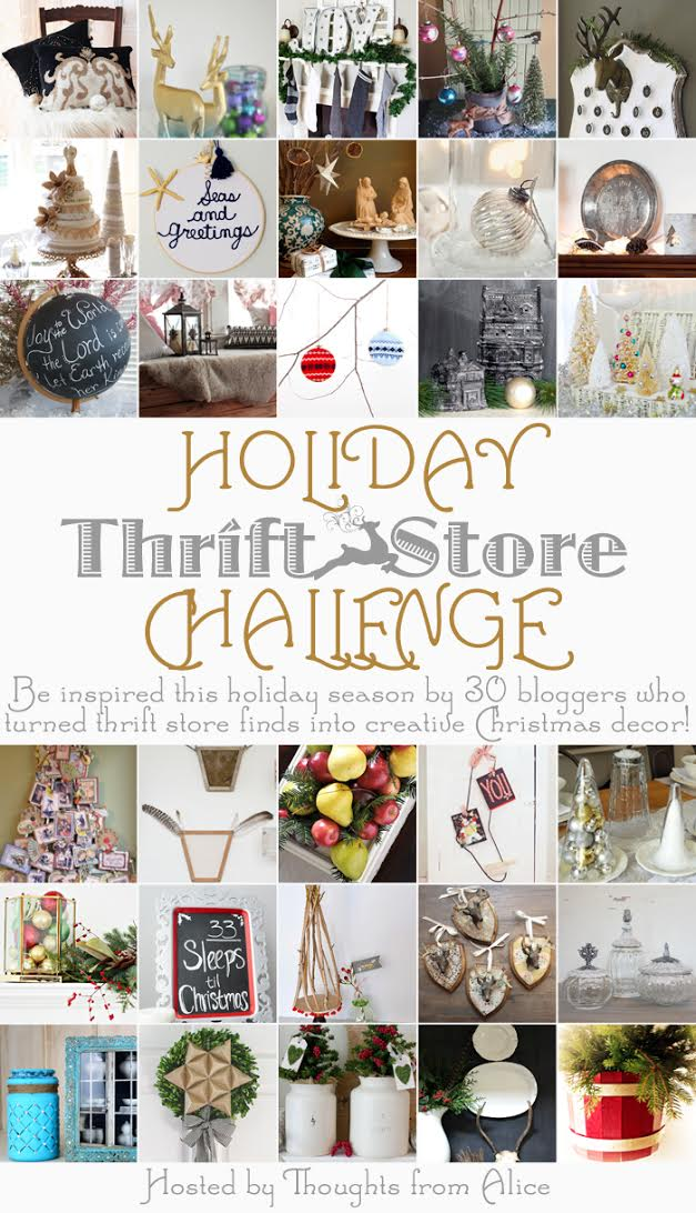 Holiday Thrift Store Challenge  | Thoughts from Alice - a wonderful compilation of DIY Thrifty Christmas Projects, including a cute Vintage Sock Stretcher Stocking