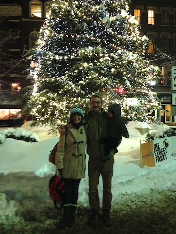 the Hinrichs family in front of the holiday tree in downtown Bangor on New Year's Eve