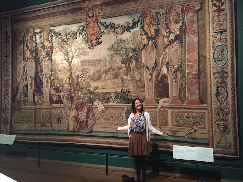 Me, a very happy author, after seeing the Chateau of Monceau/Month of December tapestry for the first time. The tapestry is on loan to The Getty Museum from the Mobilier National (photo by Alexandra Hinrichs)
