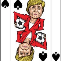 Card-i-cature a week.. Week 34 - Angela Merkel (the Queen of Spades)