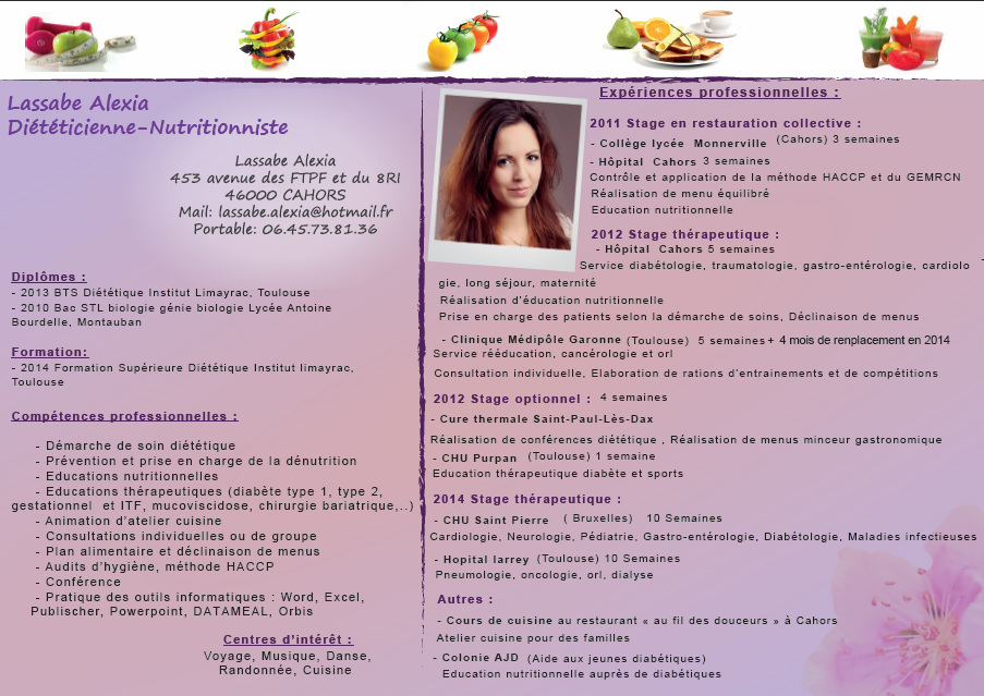 cv competences dieteticienne