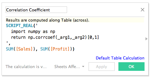 Python script within Tableau