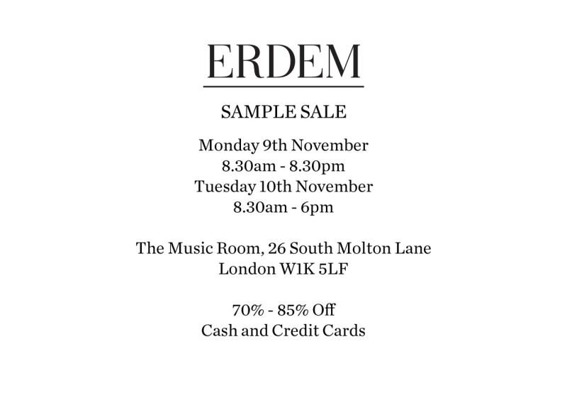 ERDEM SAMPLE SALE INVITE NOVEMBER 2015