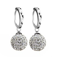 Silver Plated Zircon Ball Dangle Drop Hoop Earrings Women ...