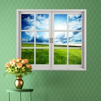 Grassland 3D Artificial Window View Blue Sky 3D Wall ...