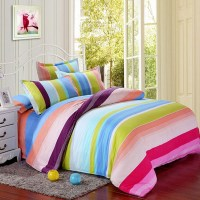 Polyester Colorful Stripes Single Queen King Reactive ...