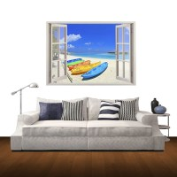 3D Beach Window View Removable Wall Art Sticker, 60 x 85 x