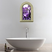 3D Elegant Purple Flowers Tree View Removable Bathroom ...