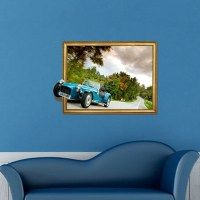 3D Vintage Car Removable Wall Art Stickers, 82 x 58 x 0.3 ...