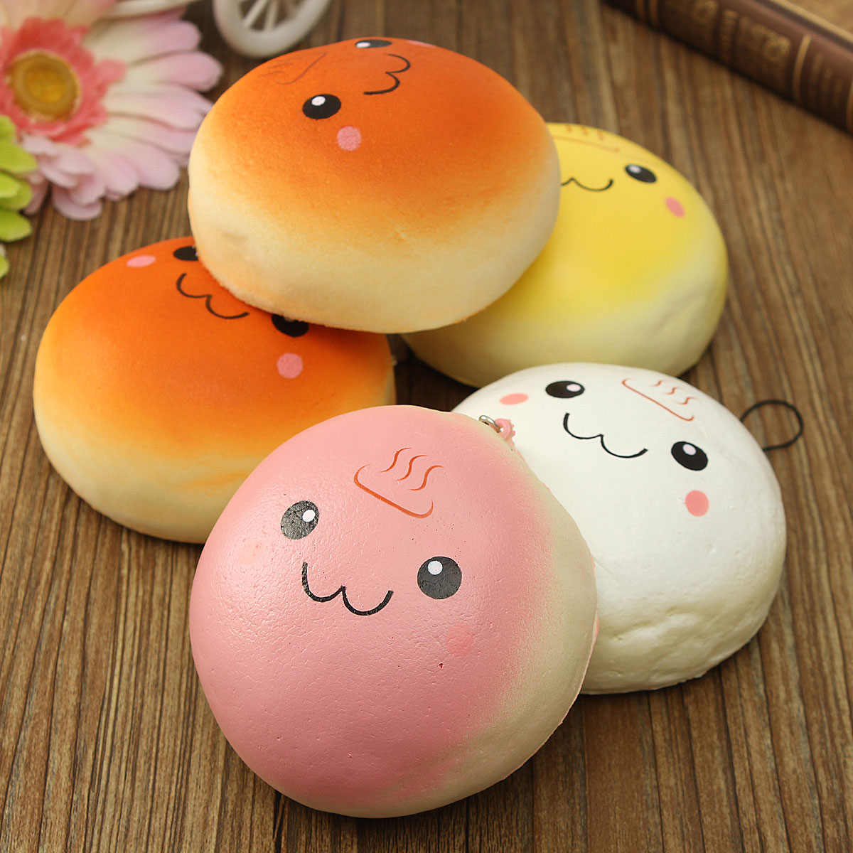 Cute Squishies Wallpaper 10cm Cute Smiling Expression Kawaii Squishy Bread Keychain