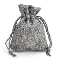 10PCS Grey Burlap Bags Jute Hessian Drawstring Sack Small ...