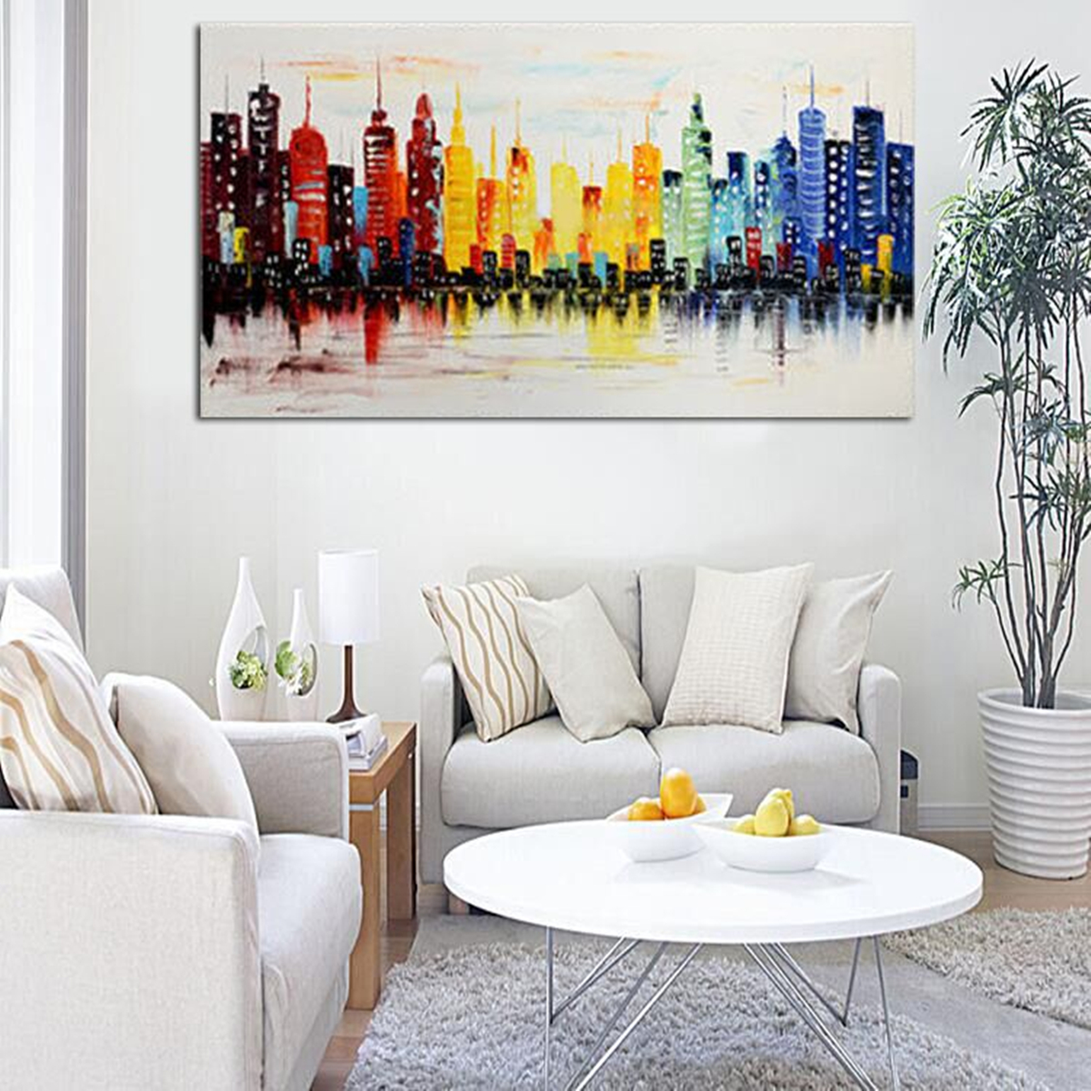 Wall Art For Living Room Idea 120x60cm Modern City Canvas Abstract Painting Print Living