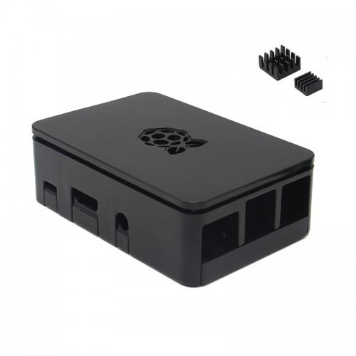 Black Raspberry Pi Case Enclosure Box V4 With Heat Sink