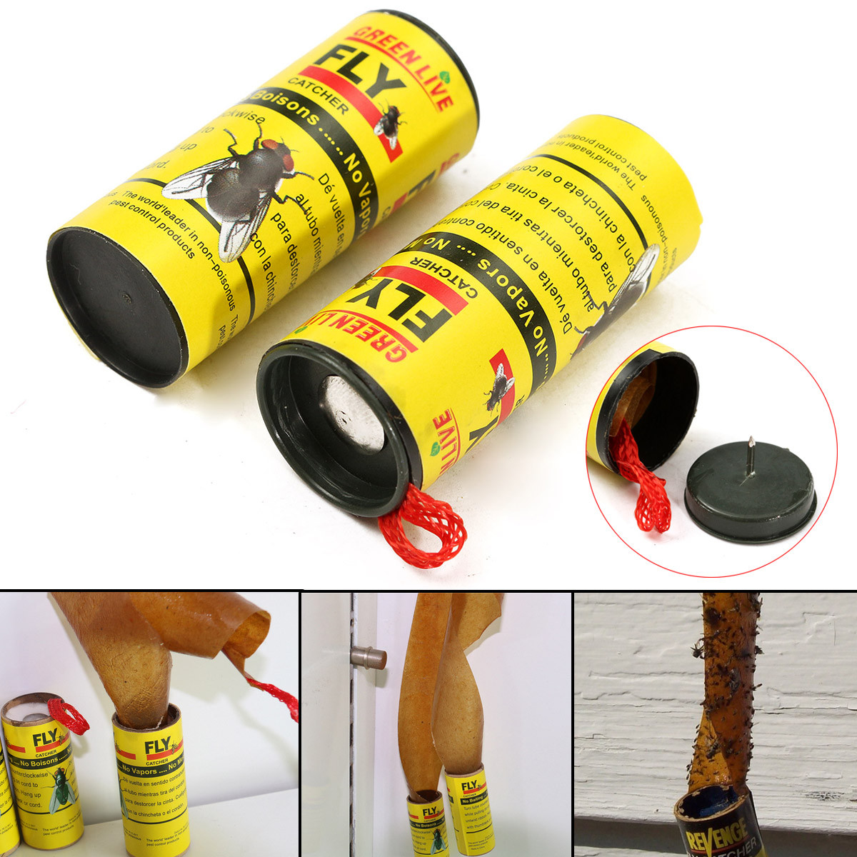 Strip Trap 16pcs Insect Bug Fly Glue Paper Catvher Trap Ribbon Tape Strip Sticky Flies
