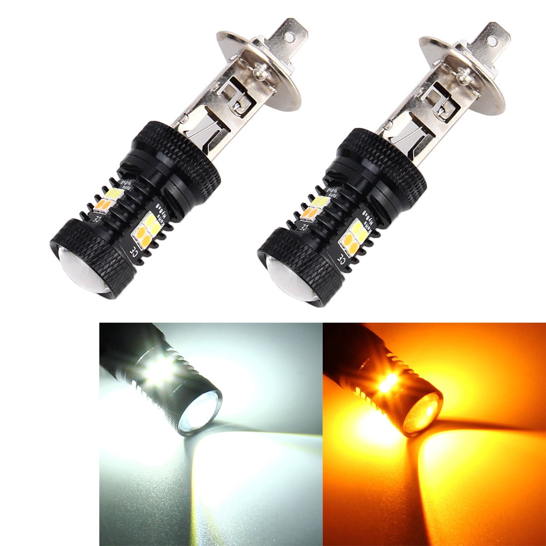 12v 5w 2 Pcs Super Bright H1 Dc 12v 5w 350lm Auto Car Fog Light With 16 Smd 3030 Led Bulbs Lamp White Yellow Light