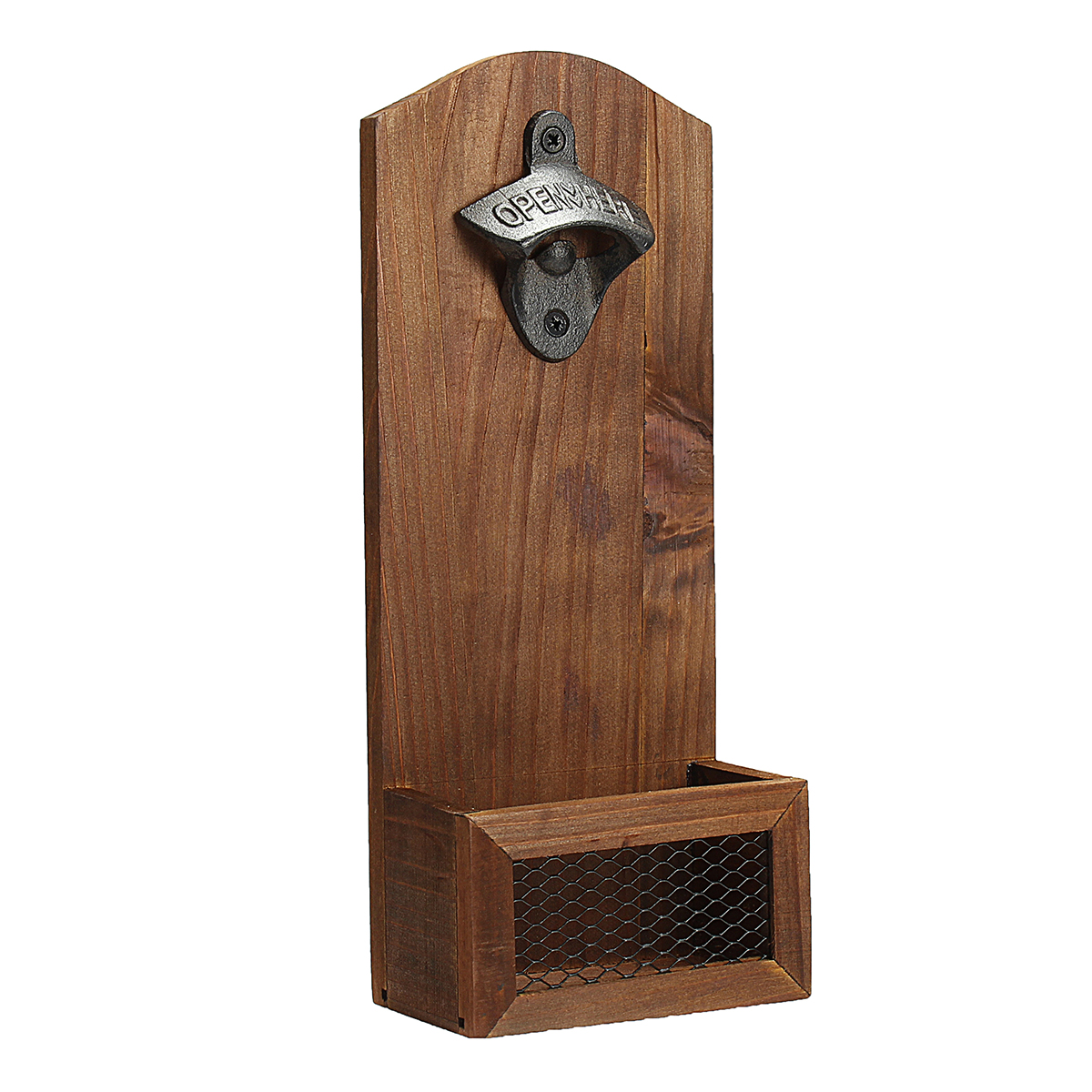 Wall Mounted Beer Opener And Catcher Beer Bottle Opener Drink Cap Catcher Wooden Iron Wall