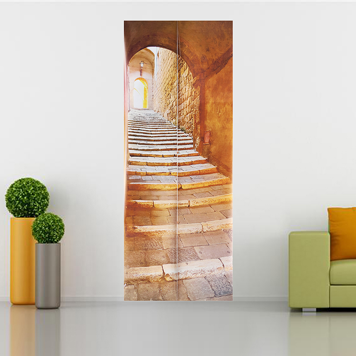 Décoration Murale Adhésive 3d Stone Stair Art Door Wall Fridge Sticker Decal Self Adhesive Mural Home Office Decor