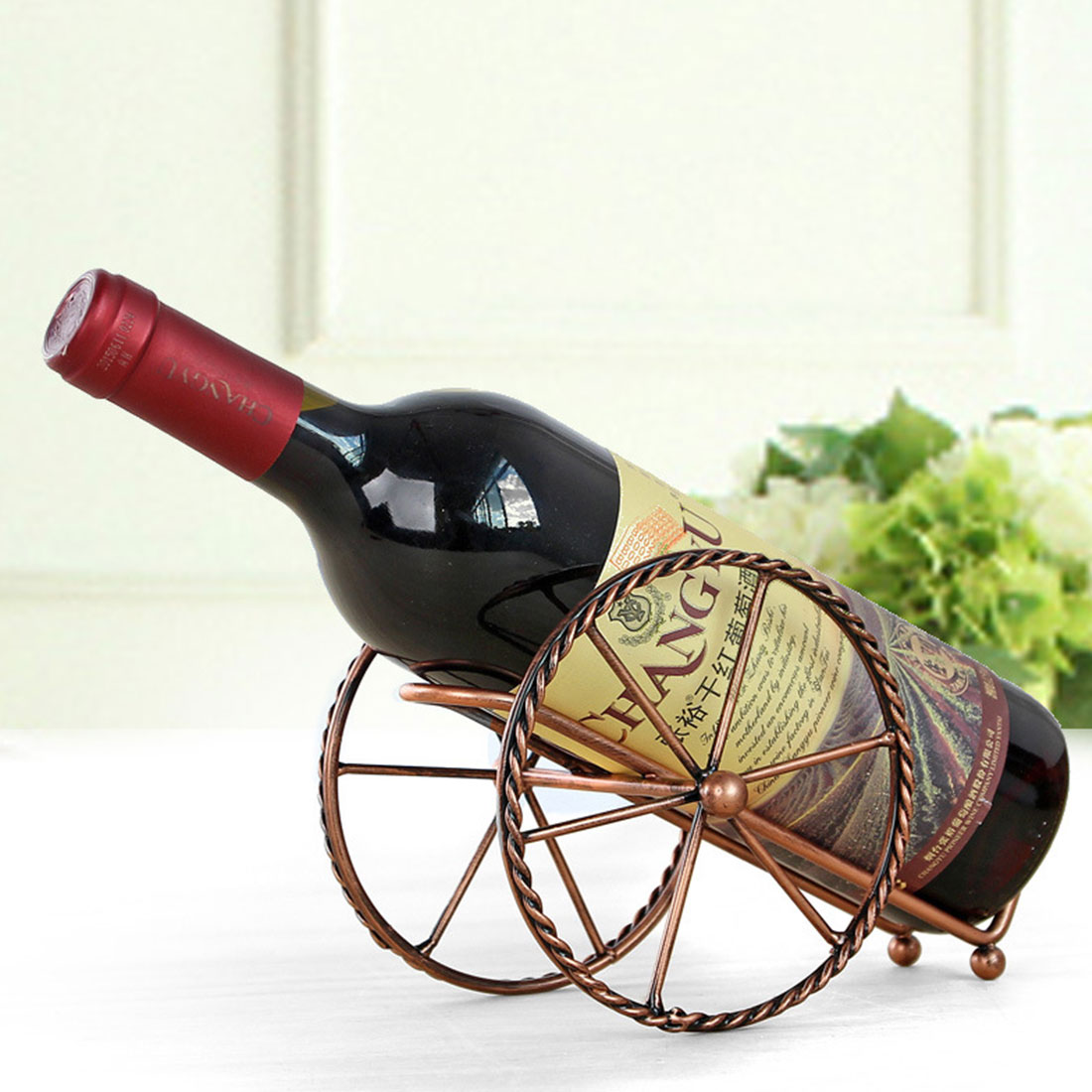 Decorative Metal Wine Racks Creative European Metal Wine Decoration Wrought Iron Wine Rack For Single Wine Bottle Home Decoration Interior Crafts