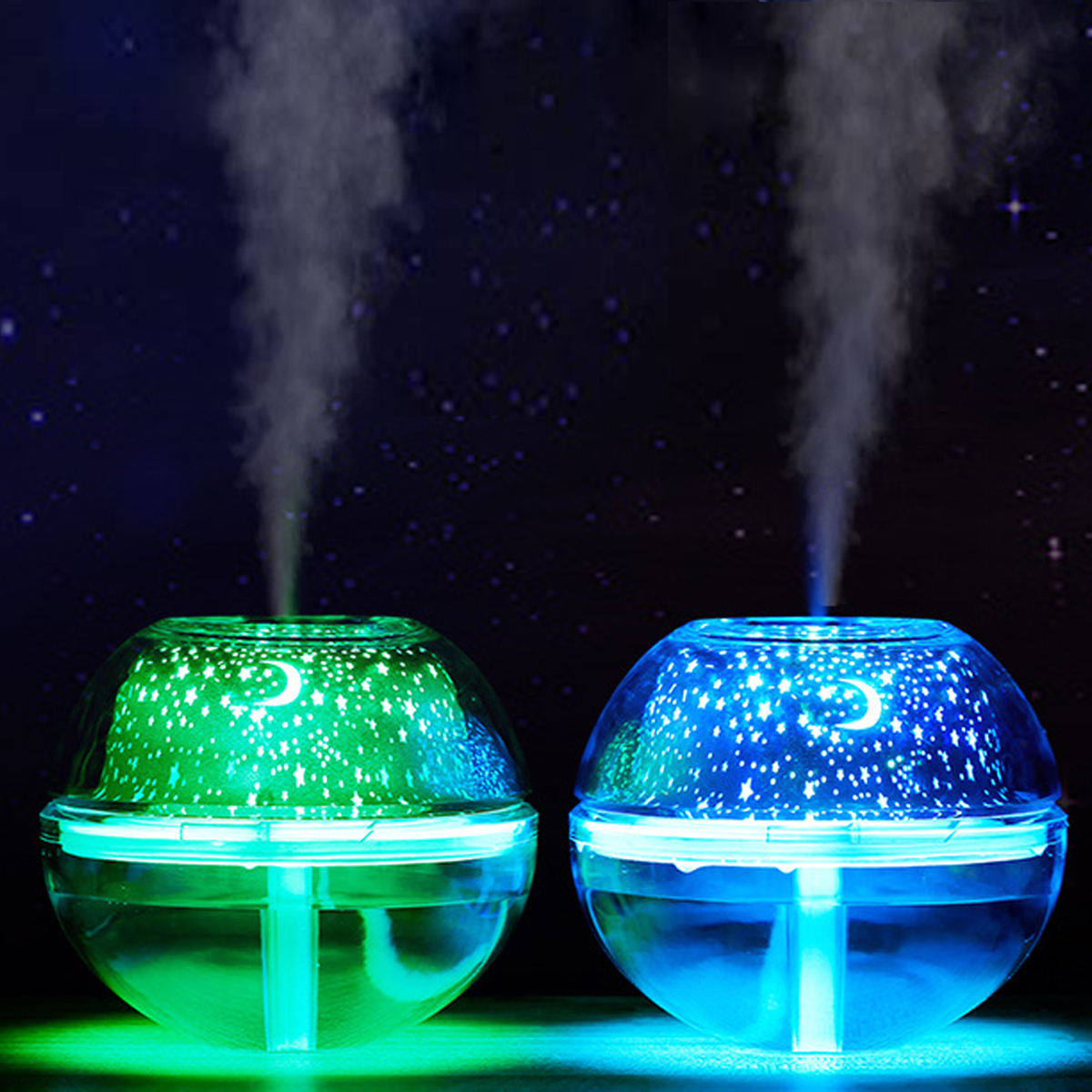 Light Projector 500ml 7 Color Crystal Led Light Projector Air Humidifier Usb Essential Diffuser Aromatherapy Purifier