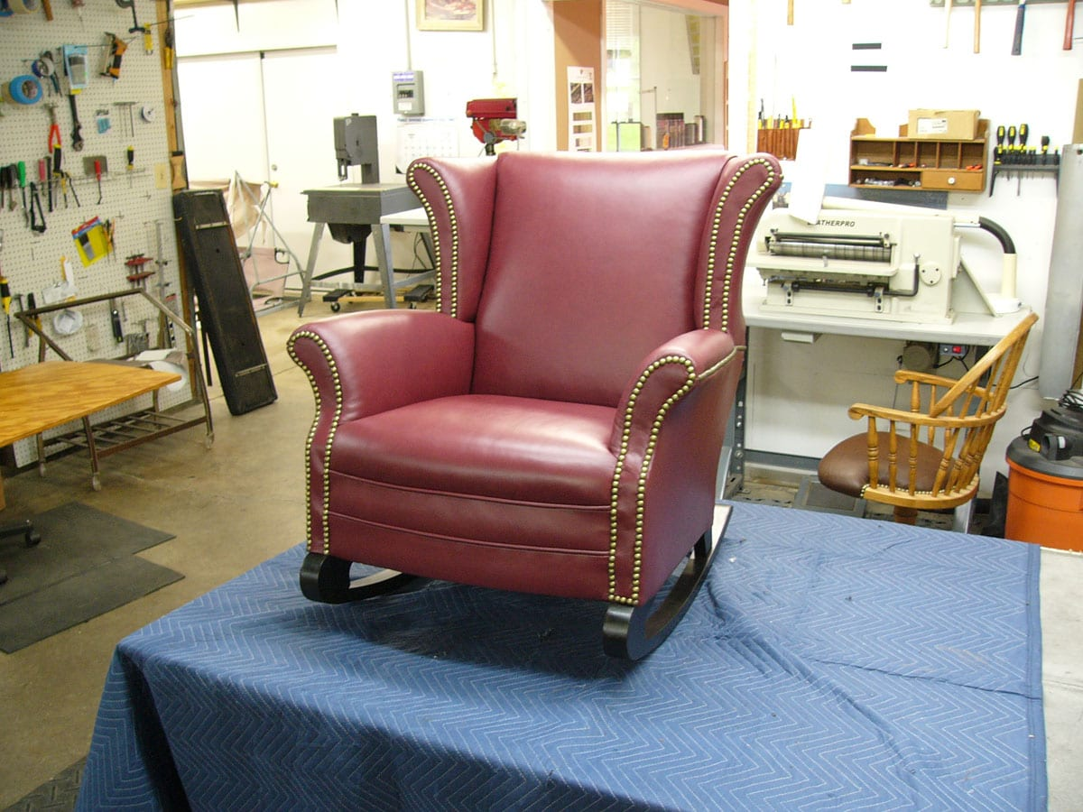 An Antique Wingback Rocking Chair Upholstery Shop