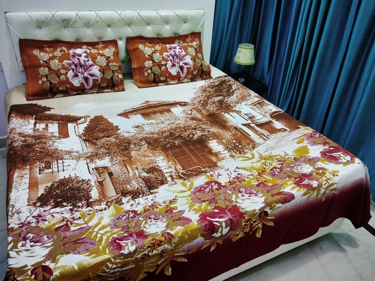 Double Bed 100 S K Mani 100 Cotton King Size Double Bed Bedsheet 5