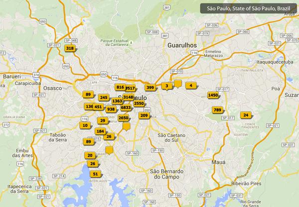 Mapa com locais de fotos feitas em São Paulo