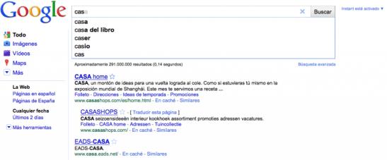 Google instant Search en funcionamiento