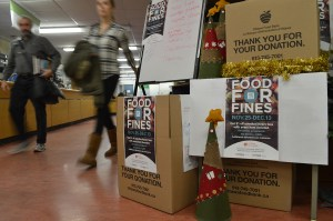 Food 4 FInes donations can be made in the library, located on the second floor of C-building.