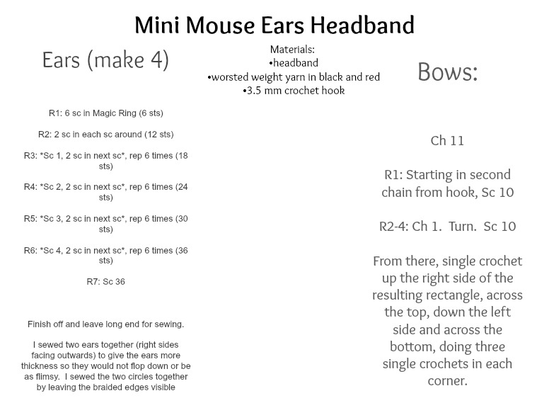 Crochet Minnie Mouse Ears Headband Pattern {FREE} \u2013