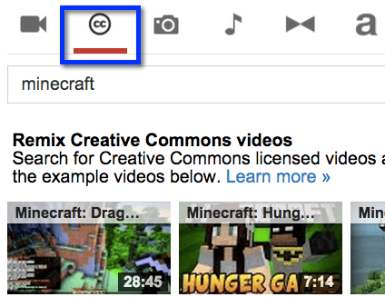 creative commons search youtube video editor
