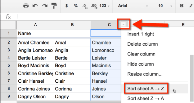 google sheets sort A to Z