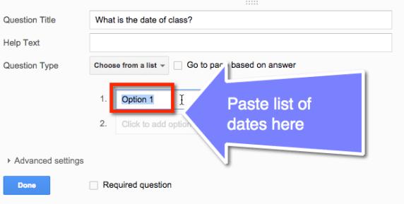 paste list of dates