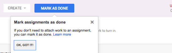 Google Classroom Mark as Done