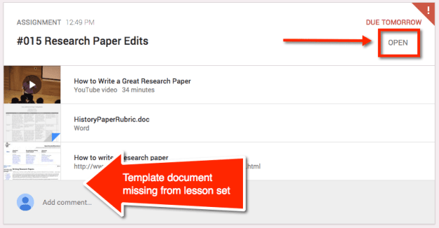 Google Classroom Tip: Indicate template attached