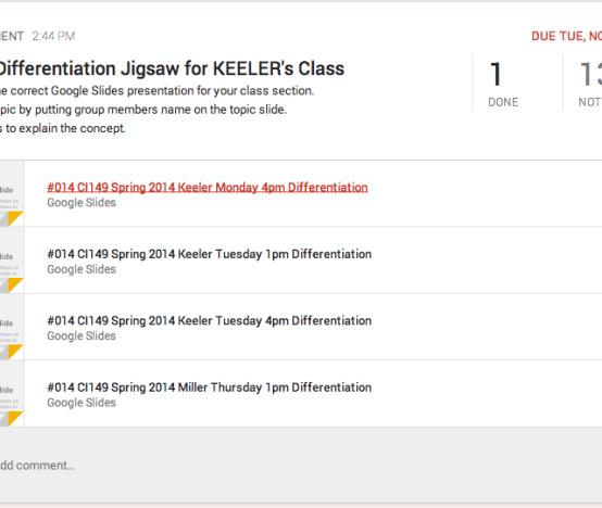 Google Classroom Distribute Slides