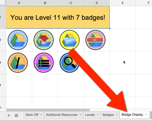 alice keeler badge display gamification spreadsheet