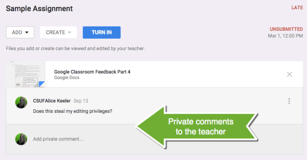 Private comments to the teacher