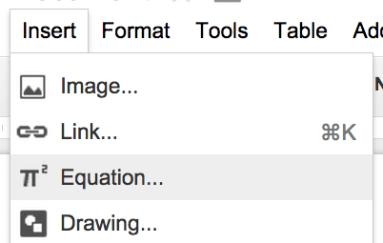 Equation Editor Google Docs