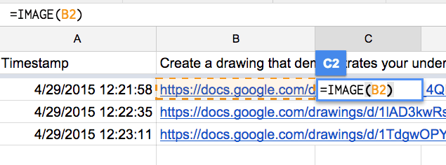 image formula in a column from a Google form