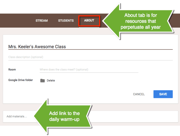 About tab in google classroom