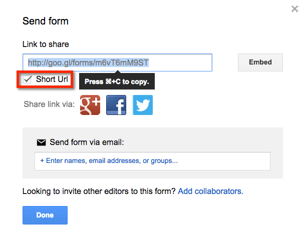 Google Forms make a short URL