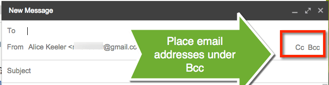 Choose BCC in an email