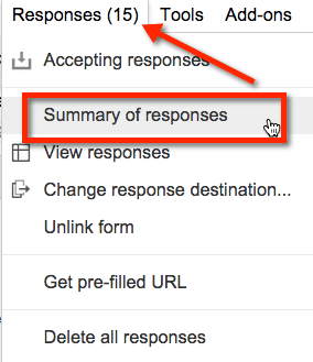 google forms view summary of responses.