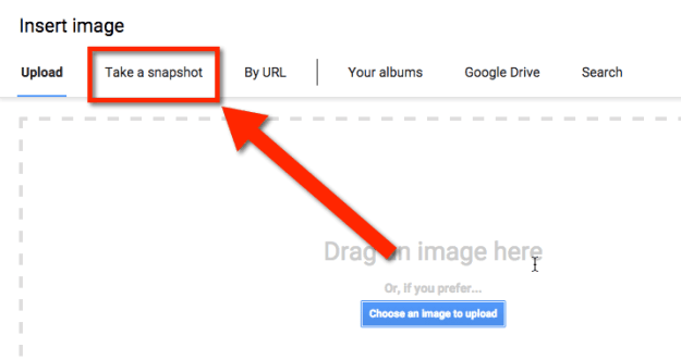 Google Docs add image by snapshot