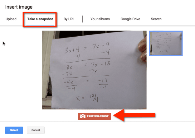 Google Docs insert snapshot