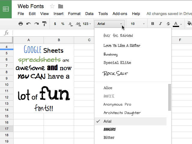 Fonts in sheets