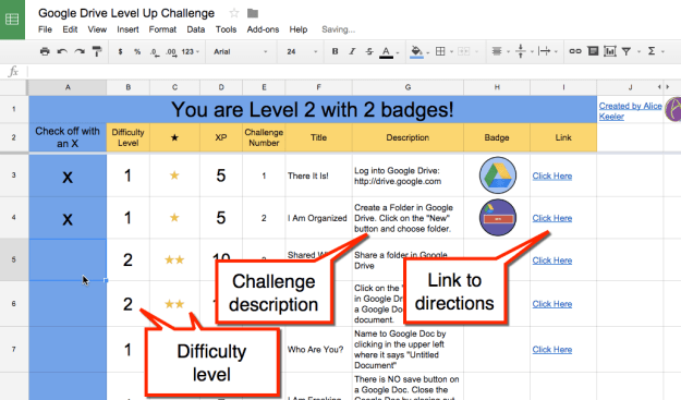 Google drive challenge sheet