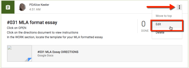 3 dots in the upper right hand corner google classroom