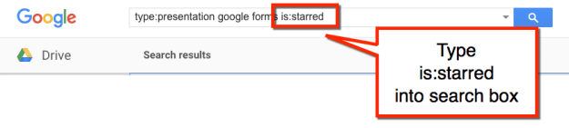 is:starred in search box