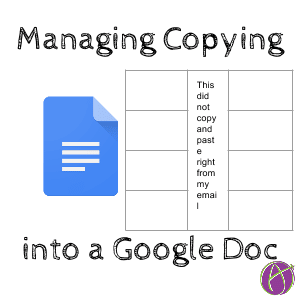 managing copy and paste into a google doc